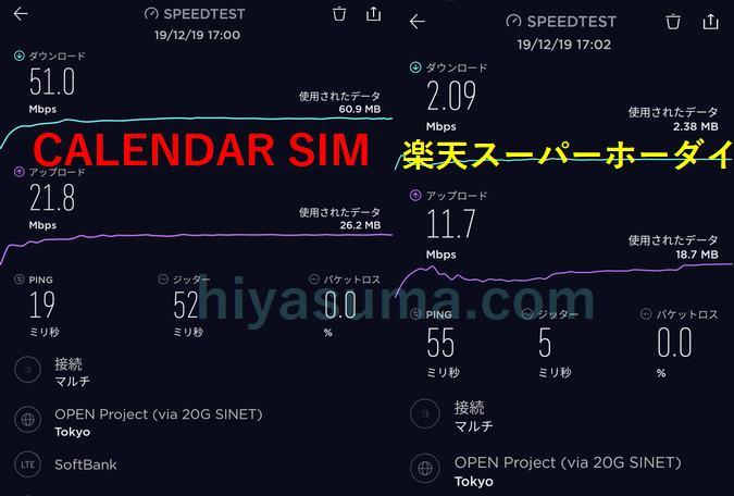 CALENDAR SIMのは夕方17時でも高速でした