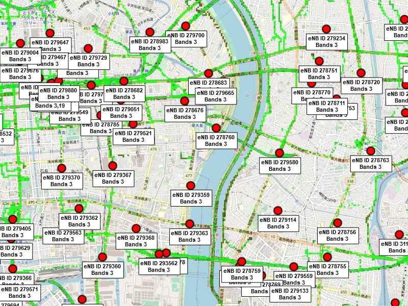 CellMapperに登録されているアンテナの地図。