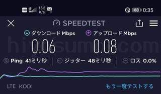 povo2.0の低速の通信速度をテストした結果です