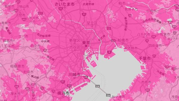 2021年1月20日に確認した楽天モバイルのエリア(首都圏)