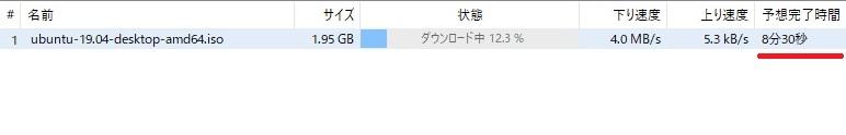 WiMAX2+の回線でubuntuをダウンロードした時間は9分くらい
